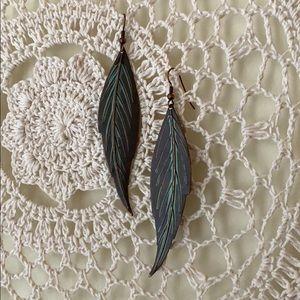 Anthropologie Brass Vintage Style Leaves Earrings
